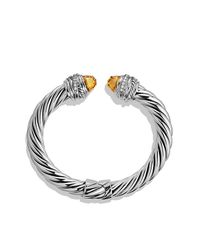 David Yurman | Metallic Crossover Bracelet With Citrine And Diamonds | Lyst