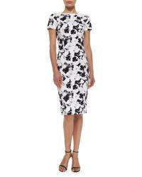 Carolina Herrera - Black Short-Sleeve Printed Sheath Dress - Lyst