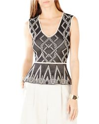 BCBGMAXAZRIA | Black Alonya Peplum Top | Lyst
