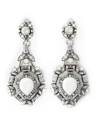 Lanvin | Metallic Swarovski Crystal Clip On Earrings | Lyst