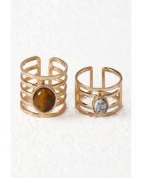 Forever 21 - Metallic Faux Stone Cutout Ring Set - Lyst