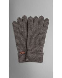 Burberry - Gray Cashmere Wool Rib Gloves for Men - Lyst