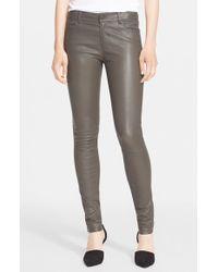 Vince - Gray Five-pocket Leather Pants - Lyst