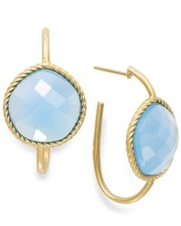 Macy's | Metallic 14k Gold Earrings, Faceted Blue Agate Hoop Earrings (12 Ct. T.w.) | Lyst