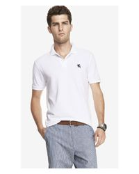 Express - White Tall Modern Fit Small Lion Pique Polo for Men - Lyst
