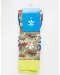 Adidas | Green Originals Camo Crew Socks for Men | Lyst
