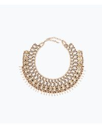 Zara | Metallic Gold-Tone And Crystal Necklace | Lyst