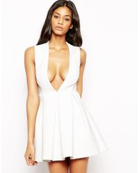 AQ/AQ - White Q Aq Upper Mini Dress With Plunge Neck - Lyst