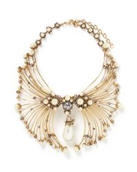 Erickson Beamon | Metallic Pearly Queen' Glass Pearl Crystal Pendant Metal Necklace | Lyst