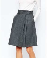 SELECTED | Gray Rosie Wool Skirt With D-ring | Lyst
