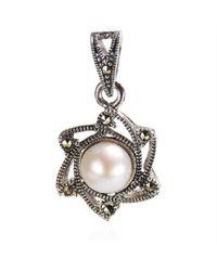 Aeravida | White Vintage Sunny June Pearl Marcasite 925 Silver Pendant | Lyst