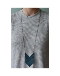 Spectrum | Blue Chevron Leather Necklace | Lyst
