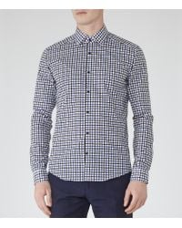 Reiss | Blue Gladiator Contrast Check Shirt for Men | Lyst