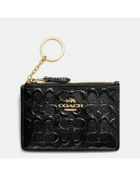 COACH | Black Gift Boxed Mini Skinny Id Case In Logo Embossed Patent Leather | Lyst