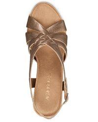 Aerosoles | Metallic Guavaplush Cork Wedge Sandals | Lyst