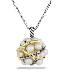 David Yurman - Metallic Pearl Crossover Small Cluster Pendant With Diamonds And Gold On Chain - Lyst