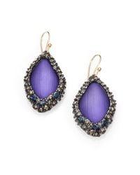 Alexis Bittar Purple Lucite Framed Drop Earrings