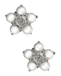 Nadri | Metallic Pearl And Sparkle Flower Stud Earrings | Lyst