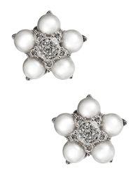 Nadri | Metallic Pearl And Sparkle Flower Stud Earrings | Lyst
