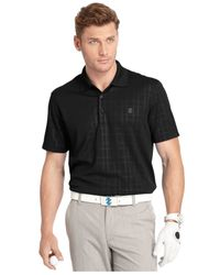 Izod | Black Medal Plaid Textured Performance Golf Polo for Men | Lyst