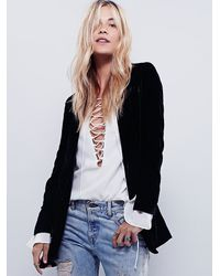 Free People | Black Yesterday's Muse Velvet Jacket | Lyst