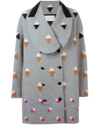 Marco De Vincenzo - Gray Losange Patterned Double Breasted Coat - Lyst