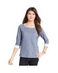 Jones New York | Blue Signature Three-quarter-sleeve Studded Sweatshirt | Lyst