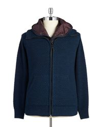 G-Star RAW | Blue Knit Zip Front Jacket for Men | Lyst