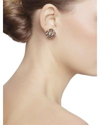 Oscar de la Renta - Metallic Crystal Button Earrings - Lyst