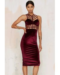 Nasty Gal - Multicolor Caged In Velvet Cutout Dress - Lyst