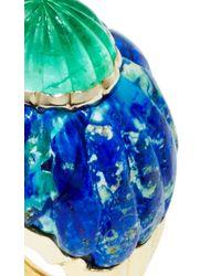 David Webb - Green Fluted Emerald, Azurmalachite, And 18K Gold Ring - Lyst