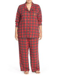 Lauren by Ralph Lauren - Red Plaid Brushed Cotton Pajamas - Lyst