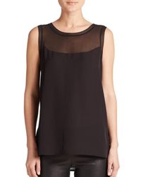 Vince - Black Sheer-inset Sleeveless Top - Lyst
