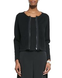 Eileen Fisher - Black Silk and Cotton-Blend Jacket - Lyst