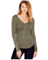 Guess - Green Waffle-knit Appliqué Henley Top - Lyst