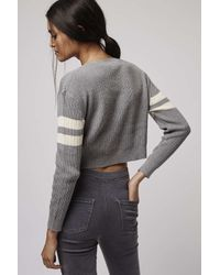 TOPSHOP - Gray Knitted Cropped Jumper By Glamorous - Lyst