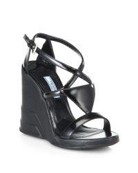 Prada - Black Leather Tiered Wedge Sandals - Lyst