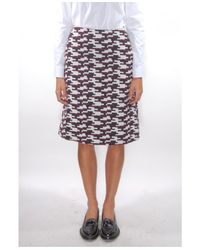 Jil Sander Navy - White Gonna Printed A-line Skirt - Lyst
