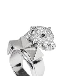 Iosselliani | Metallic Crystal Pavé Panther Head Ring | Lyst