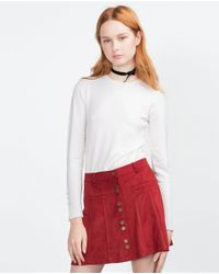 Zara | Red Miniskirt With Buttons | Lyst