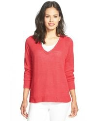 Eileen Fisher | Red Organic Linen Knit V-neck Top | Lyst