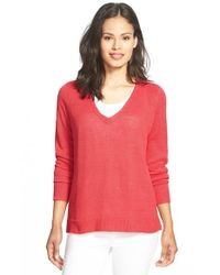 Eileen Fisher - Red Organic Linen Knit V-neck Top - Lyst