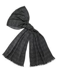 Calvin Klein | Black White Label Jacquard Logo Scarf | Lyst