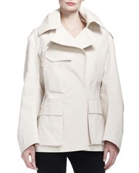 Donna Karan - White Flap-pocket Tech Fabric Trenchcoat - Lyst