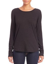 James Perse | Black Brushed-jersey Cowl-back Top | Lyst