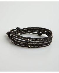 Chan Luu | Black Leather and Skull Wrap Bracelet for Men | Lyst