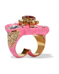 Shourouk - Metallic Galaxy Gold-tone, Crystal And Enamel Two-finger Ring - Lyst