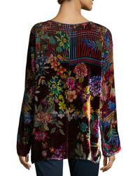 Johnny Was - Multicolor Flower-print Velvet Tunic - Lyst
