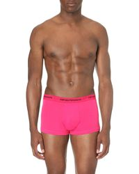 Emporio Armani - Blue Pack Of Three Logo Stretch-cotton Trunks for Men - Lyst