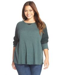 Lucky Brand | Blue Mixed Media Thermal Top | Lyst